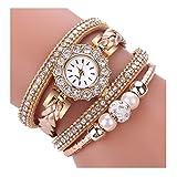DYLUNG Ladies Watches,Clearance Sale Fashion Vintage Bracelet Weave Wrap Quartz Wrist Watch Dress Watches Gifts for Girls Women (Beige)