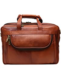 High Touch Leather 15 Inch Leather Laptop Bag For Man And Women (Color Tan)