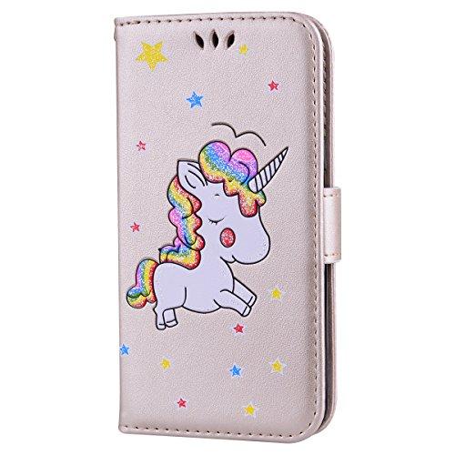 CXTcase Samsung Galaxy J3 2016 Cover Unicorno Pelle Libro Copertura Shell Supporto Stand Porta Portafoglio Flip Wallet Cover Chiusura Magnetica Proteggi Caso Oro