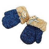 Hikfly knit Mittens Guanti per il bambino Ragazze Ragazzi Per i più piccoli Guanti termici sportivi all'aperto Regali di Natale (1-3 anni) (Blu, H)