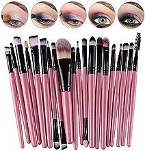 CINEEN 20Pcs Set de Brochas de Maquillaje Profesionales Cepillos Pínceles de Maquillaje con Mango de Madera Productos Cosméticos para Labios Ojos Rostro
