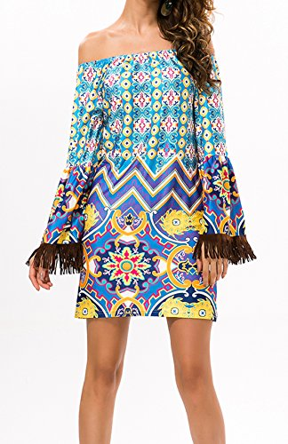 Weiblich Mode Reizvolle Wort Kragen Thai Wind Quaste Strand Lautsprecherhülsen Kleid Mini Grün