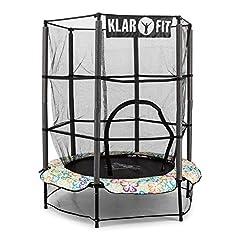 Idea Regalo - Klarfit Rocketkid 4 trampolino elastico per bambini piccola pedana per saltare (140 cm, rete di protezione interna tappetino in polipropilene, corda per il Bungee, dai 3 anni d'età) bianco con fiori