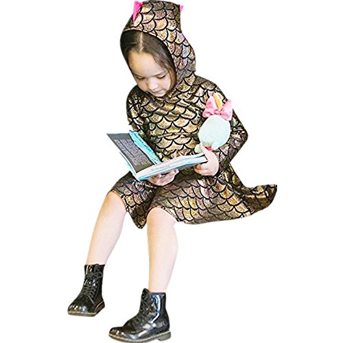 Anglewolf Toddler Kids Baby Girls Dinosaur Style Long Sleeve Hooded Shirt Dress Daily Casual Knee-Length A-Line Cute Fashion Dress Party Dresses Clothes For 1~4 Years Old Girls