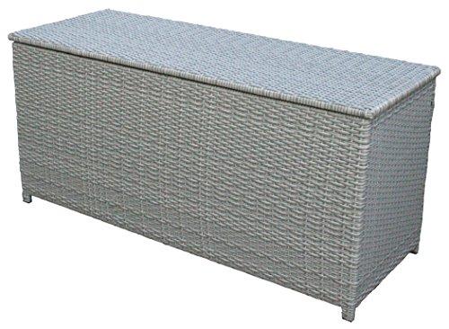 KMH Kissentruhe/Kissenbox Emma 130x50x61 cm aus grauem Polyrattan (2 String) (#106130)