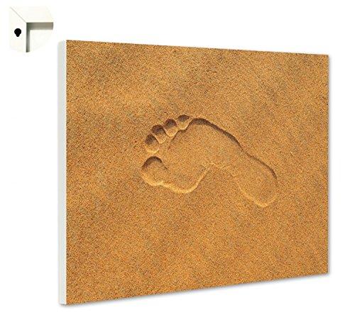 Magnettafel Pinnwand mit Motiv Natur Fußspuren im Sand Größe 60 x 40 cm