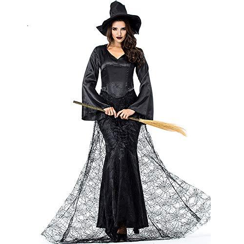 DuHLi Frauen Schwarz Hexe Kostüm Halloween Karneval Performance Party Cosplay Erwachsene Kleid Kleidung Plus Größe XXL,XL (Anime Cosplay Kostüm Plus Größe)