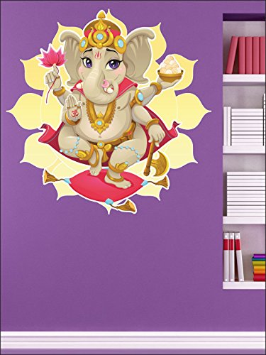 SRG India Dancing Ganesha Removable Decor Environmentally Mural Wall Stickers Decal Wallpaper For Kids Home living room bedroom bathroom kitchen Office  available at amazon for Rs.199
