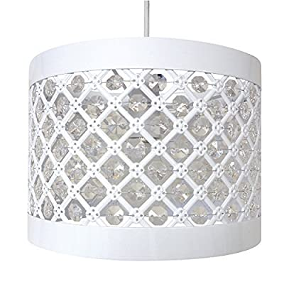 Moda Sparkly Ceiling Pendant Light Shade Fitting, Plastic/Metal, White by Country Club