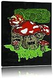 Dark Drooling Shrooms black Leinwandbild Bild auf Leinwand, XXL riesige Bilder fertig gerahmt mit Keilrahmen, Kunstdruck auf Wandbild mit Rahmen, günstiger als Gemälde oder Ölbild, kein Poster oder Plakat, Format:120x80 cm