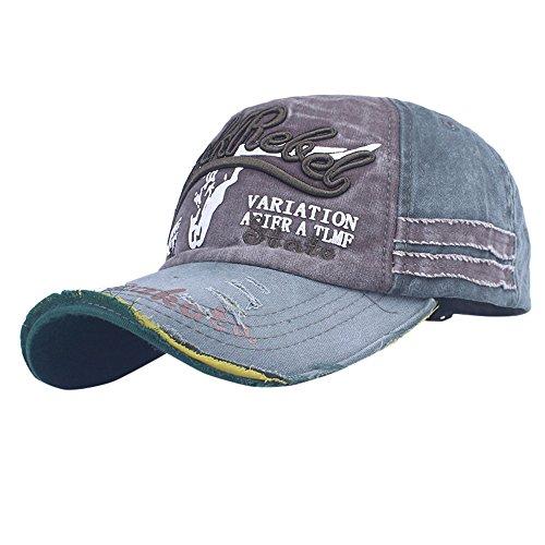 Qmber Herren Golf Sports Flexible Cap Metal Hat Soft Brim Lightweight Running Hat Waterproof Breathable Quick Dry Sport Cap for Men and Woman Denim Patch Vintage lässige Stickerei/A2