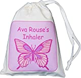 Personalised - Inhaler & Small Spacer Bag - Butterfly Design - 14x20cm Natural Cotton Drawstring Bag - EMPTY