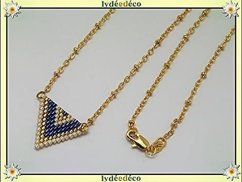 Collier plaqué or perles japonaises bleu doré beige tissage triangle
