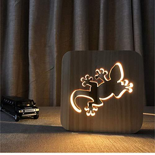 Nachtlicht 3D Optische Täuschung Lampe Gecko Led Holz Acryl Kinderzimmer Schlafzimmer Wohnkultur Diy Schreibtisch Home Dekorative