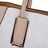 Sally Young Leather Look Stitching Shoulder Handbag Elegant Design Top Handle Fashion Handbags for Women (White)
