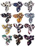 Gomas de Pelo Elásticas Con Lazo para Mujeres 12 Piezas Elegantes Bandas Elásticas Florales Con Pendiente de Perla Coleteros Elásticos de Raso Suave Aterciopelado (12 Colores)