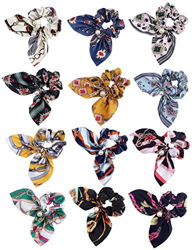 12 elastici e fermacoda per capelli con fiocco per donne elastici floreali alla moda con ciondolo a perla elastici morbidi per capelli con chiffon di velluto (12 colori)