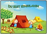 Einladungskarten Kindergeburtstag - Einladung zum camping oder zelten (10 Stück) Baumhaus Lagefeuer Jungen Mädchen Erwachsene Kinder