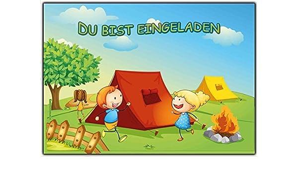 Einladungskarten Kindergeburtstag   Einladung Zum Camping Oder Zelten (8  Stück): Amazon.de: Bürobedarf U0026 Schreibwaren