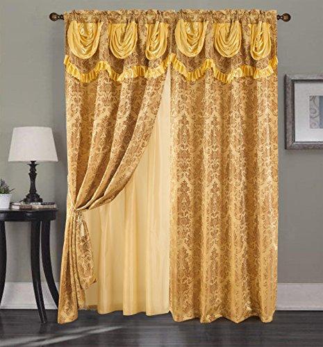 RT Designer Collection Sparta Jacquard 137,2x 213,4cm. Double Rod Pocket Vorhang Panel W/, 18in. Querbehang Gold -
