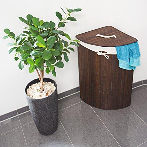 2 x Eckwäschekorb im Set, Wäschetrennsystem aus Bambus, Wäschesammler mit herausnehmbarem Wäschesack, je 64 L, braun - 2