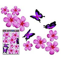 JAS Stickers® FLOWER Frangipani Car Sticker - Pink Double Plumeria + BUTTERFLY Animal Large Vinyl Decal Pack For Laptop Luggage Bicycle Bike Caravans Van Camper Trucks & Boats - ST00024PK_LGE