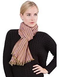 Écharpe rayée en laine de mérinos