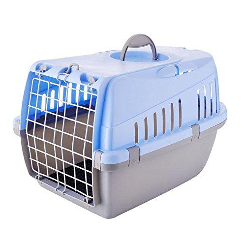 xueyan& Pet air box katzen und hunde luftfahrt käfig katzen und hunde verschiffen boxen koffer kennel, sky blue grey, l- large
