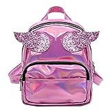 Kleine Hologramm-Rucksack Holographic Tasche Feminino Frauen Silber Rosa Schwarz Leder Grundschule Tasche Mädchen Rucksäcke Hot Pink
