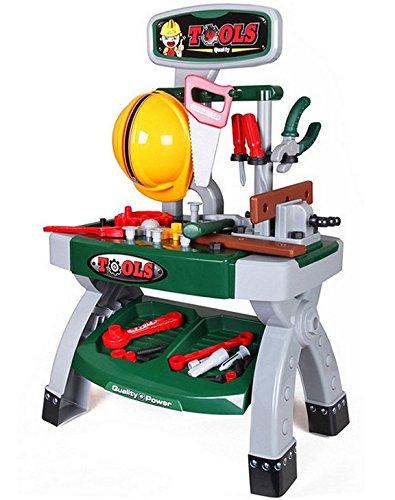 deAO Taller Mecánico con Set de Herramientas De Juguete   Mesa de Trabajo Incluye Accesorios