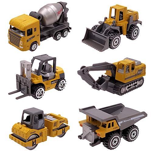 DREAMON Baustellen Fahrzeuge Metall Kunststoff Bagger Auto Spielzeug für Kinder 2 Jahre, Geschenk Set 6-teilig