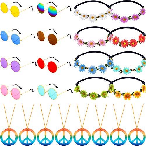 Frienda El Conjunto de Accesorios de Disfraces de 24 Piezas de Hippie Incluye Collares con el Signo de la Paz Daisy Sunflower Headbands Gafas de Sol Redondas Retro para artículos de Fiesta Hippie