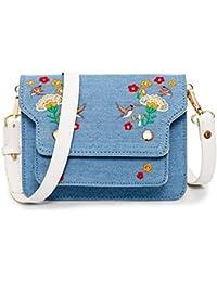 Mini Crossbody Bags For Women Small Satchel Bag Denim Leather Embroidery Style Shoulder Bag Leather Vintage Messenger...