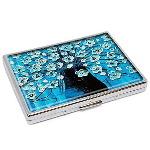 Ocean Blossoms Blue Aqua Turquoise Flowers in A Vase Fashion Silver Stainless Steel Zigarettenetui Holder Zigaretten Box Storage Case Stylish ID Credit Card Wallet Protective Cover (Silver Flower Vase)