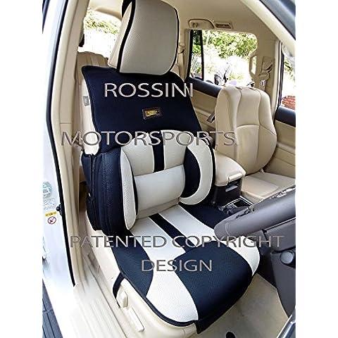 Para adaptarse a un Renault Grand Scenic, fundas para asiento, Bo 4Rossini Malla Deportivo Beige + Negro, 2frentes