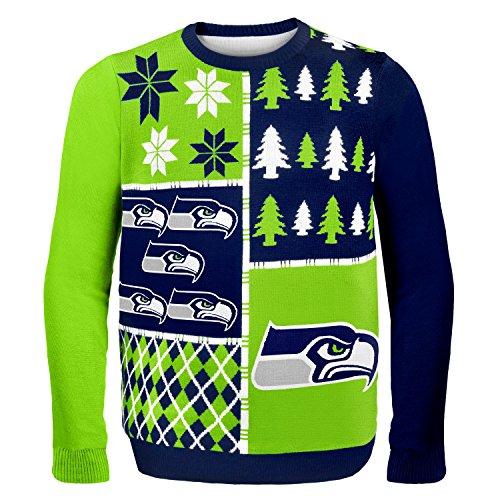 """Seattle Seahawks Men's NFL """"Busy Block"""" Ugly Sweater"""