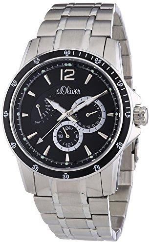 s.Oliver SO-2846-MM - Reloj analógico de cuarzo para hombre, correa de acero inoxidable color plateado
