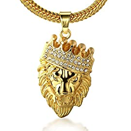 "Sparkle Enterprise""KINGS LANDING"" Gold Plated Crown Lion Alloy Pendant for Mens & Boys"