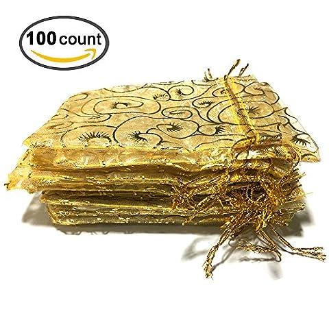 Golvery 100 Pieces Champagne Eyelash Yellow Organza Gift Bags, Drawstring