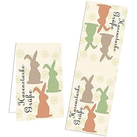 25pezzi Banderolen etichette da incollare per Pasqua con tre coniglietti e Oster saluto–di etichette adesive per sacchetti regalo zukleben & Co.