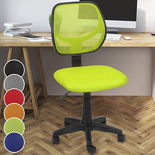 tuhl mit Netzbezug in 6 unterschiedliche Farben zur Auswahl: Schwarz/Grau/Blau/Grün/Rot/Orange (Grün) (Rollen Schreibtisch Stuhl Blau)