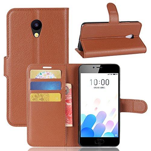Kihying Hülle für Meizu M5c / Meizu A5 Hülle Schutzhülle PU Leder Flip Wallet Fashion Geschäft HandyHülle (Brown - JFC01)