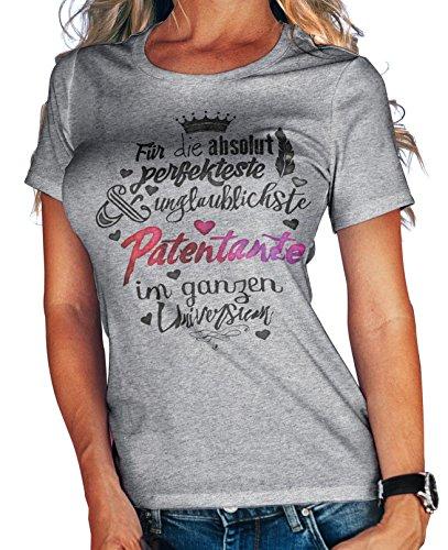 Stylotex Damen/Girlie T-Shirt Für die absolut perfekteste Patentante | hochwertiges Frauen Shirt zu Weihnachten, Geburtstag, Patenschaft | in Deutschland Bedruckt, Größe:M, Farbe:Heather
