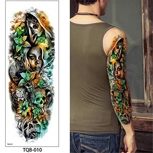 Tzxdbh 5pcs-48 * 17cm braccio tatuaggio temporaneo a braccio pieno morte teschio rose modello fiore completo tatuaggio con braccio body art grande grande tatuaggio 5 pz-