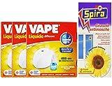 set 3 confezioni VAPE Elettroemanatore mosca e zanzare con Ricarica Giorno E Notte 480 Ore più spira girasole antimosche