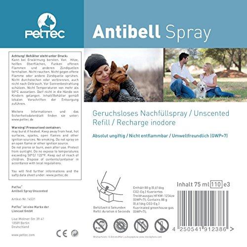 Spray PetTech Anti Ladrido, 3 Latas de Repuesto sin Perfume para Collares de Entrenamiento con Spray, Seguro para Perros y Humanos, Ecológico y Antialérgico, Incluye un 25% más de Contenido, 75 ml Cada uno (Olor Neutro)