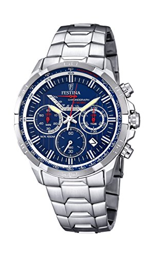 Festina Men's Quartz Watch with Blue Dial Chronograph Display and Silver Stainless Steel Bracelet F6836/3