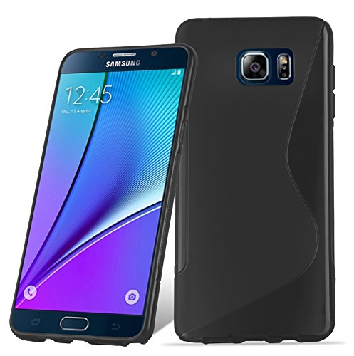 Preisvergleich Produktbild Cadorabo DE-105379 Samsung Galaxy Note 5 Handyhülle aus flexiblem TPU Silikon im S-Line Design Schwarz