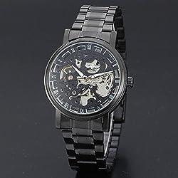 &ZHOU Hommes de sangle de mouvement mécanique/automatique/luxe/sport/loisir/montres/mécanique/en métal , black