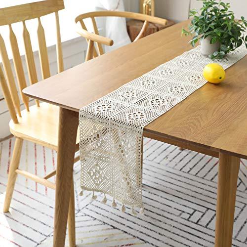 ZHJIUXING HO Häkeln Sie Tischläufer, handgemachte längliche Spitze Tischdecke staubdicht Klavier Möbel Baumwolle Tischdecke für Dekoration, mehrere Größen, B, 24x200cm